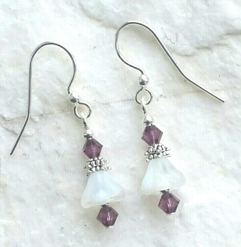 Amethyst White Opal Flower Sterling Silver Earrings