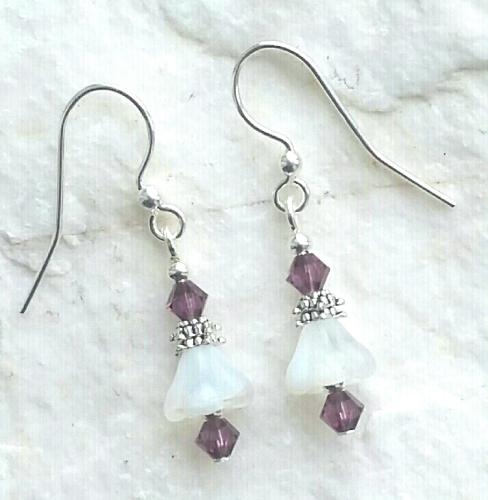 Amethyst White Opal Flower Sterling Silver Earrings