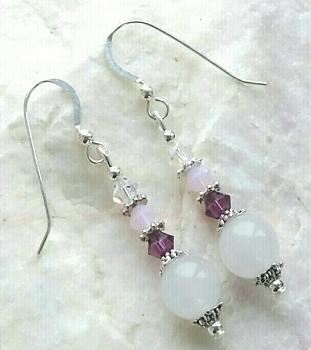 Moonstone Amethyst And Pink Opal Gemstine Earrings