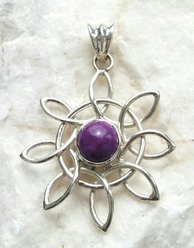 Purple Turquoise Sun Sterling Silver Pendant