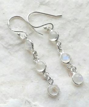 Moonstone Triple Gem Silver Earrings