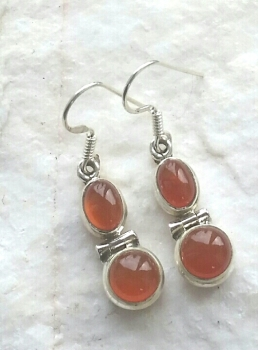 Carnelian Double Gemstone Silver Earrings