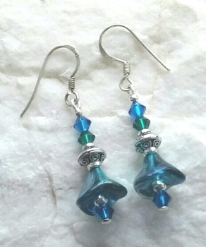 Turquoise And Emerald Peacock Flower Earrings