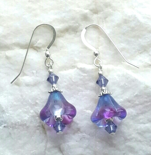Amethyst Flower And Tanzanite Sterling Silver Earrings