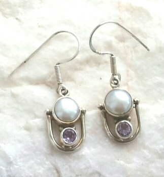 Amethyst With Pearl Sterling Silver Earrings