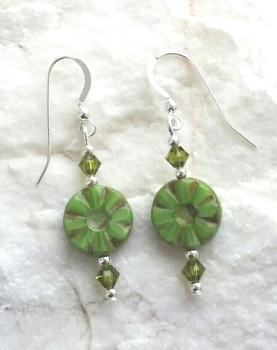 Green Flower Swarovski Crystal Silver Earrings
