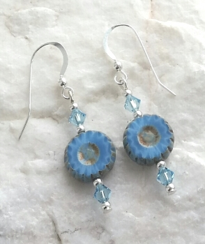 Blue Daisy Swarovski Crystal Sterling Silver Earrings
