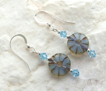 Swarovski Crystal Flower Sterling Silver Earrings
