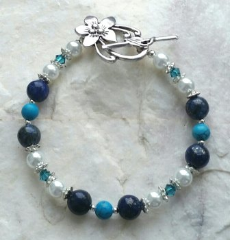 Turquoise And Lapis Gemstone Silver Pearl Bracelet