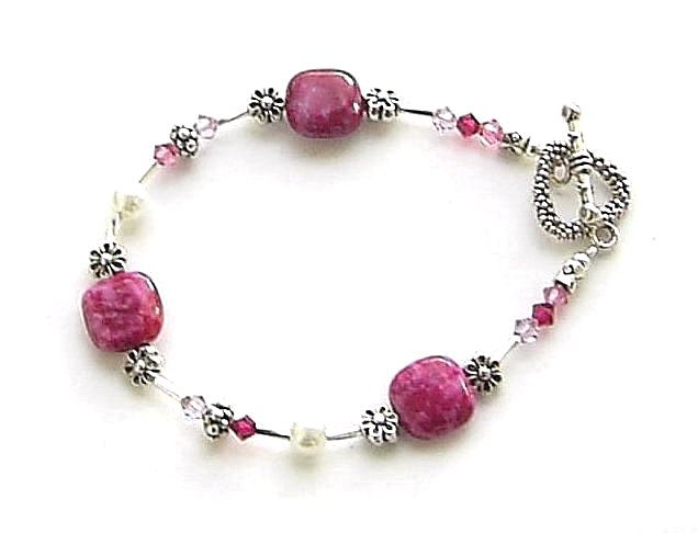 pink sea sediment jasper gem bracelet