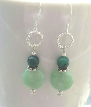 Azurite And Amazonite Silver Gemstone Earrings