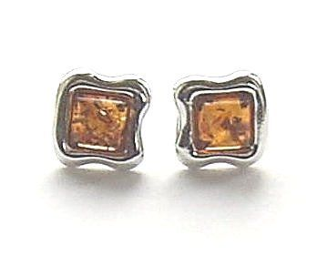 Baltic Amber Cognac Sterling Silver Earrings