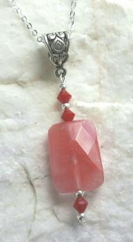 Cherry Quartz Gemstone And Coral Crystal Silver Necklace