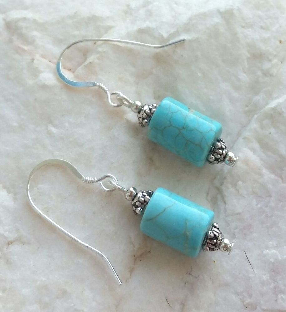Turquoise bali gemstone earrings