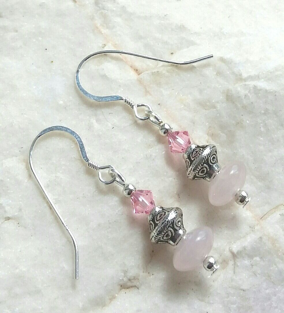 Rose quartz gemstone jewellery earrings