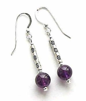 Amethyst Decorated Bali Sterling Silver Gem Earrings