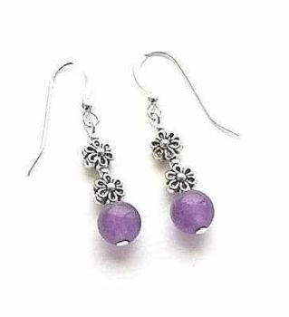 Amethyst Flower Silver Bali Gemstone Earrings