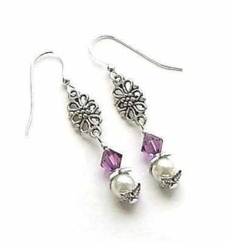Amethyst Gem And Pearl Sterling Silver Ornate Earrings