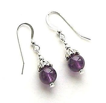 AMETHYST GEMSTONE PETAL STERLING SILVER EARRINGS