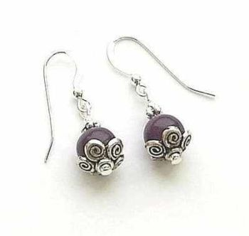 Amethyst Gemstone Decorative Sterling Silver Earrings