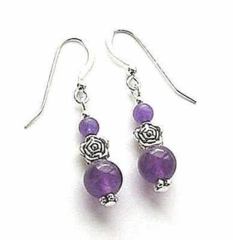 Amethyst With Purple Jade Gemstone Silver Rose Earrings