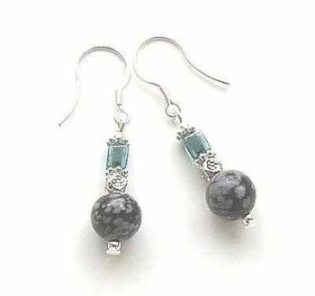 AQUA CUBE AND SNOWFLAKE OBSIDIAN SILVER GEM EARRINGS
