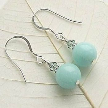 Aqua Jade And Erinite Crystal Sterling Silver Earrings