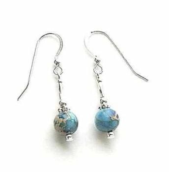 Aqua Sea Sediment Jasper Sterling Silver Earrings