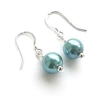 Aquamarine Pearl Sterling Silver Earrings
