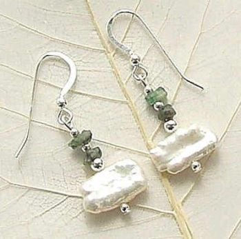 Beautiful Biwa Pearl And Emerald Sterling Silver Earrings