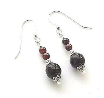 Black Onyx And Garnet Sterling Silver Gemstone Earrings