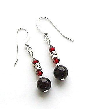 Black Onyx And Swarovski Garnet Crystal Silver Earrings