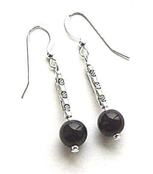 Black Onyx Decorated Bali Sterling Silver Gemstone Earrings