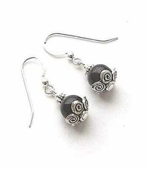 Black Onyx Decorative Bali Sterling Silver Earrings