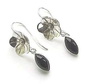 Black Onyx Flower Sterling Silver Earrings
