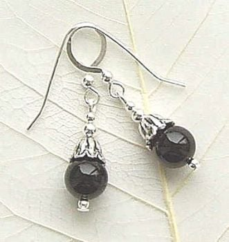 BLACK ONYX GEMSTONE STERLING SILVER BALI PETAL EARRINGS