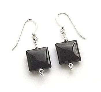 Black Onyx Gemstone Sterling Silver Earrings