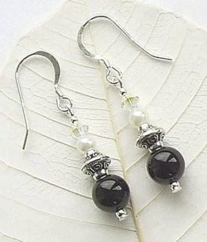 Black Onyx Pearl And Crystal Gemstone Earrings