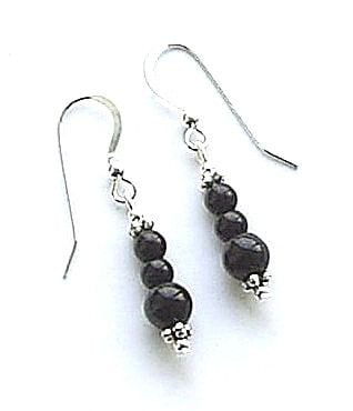 Black Onyx Sterling Silver Triple Gemstone Bali Earrings