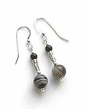 Black Stripe Agate And Black Onyx Silver Bali Earrings