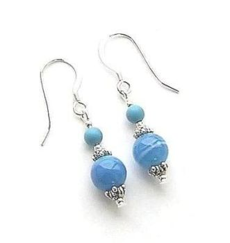 Blue Botswana Agate And Turquoise Gemstone Earrings