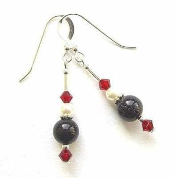 BLUE GOLDSTONE AND GARNET SWAROVSKI SILVER GEMSTONE EARRINGS