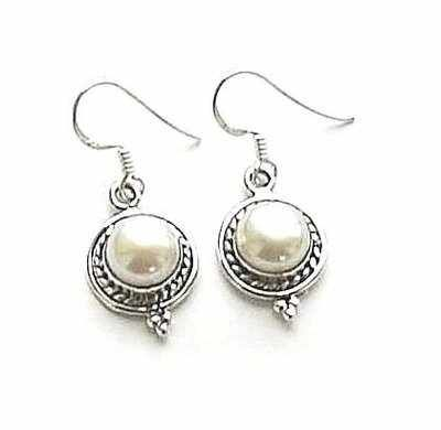 Freshwater Pearl Ornate Sterling Silver Earrings