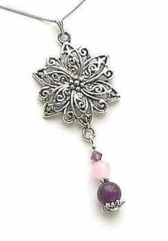Amethyst And Rose Quartz Silver Gemstone Flower Necklace