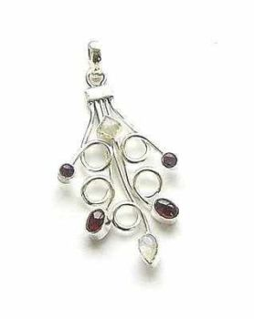 Amethyst Garnet And Moonstone Sterling Silver Pendant