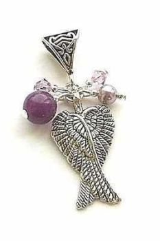 Angel Wing Amethyst Gemstone Jewellery Silver Necklace