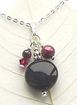 Black Onyx Coin And Garnet Silver Gemstone Necklace