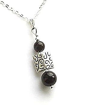 Black Onyx Gemstone Sterling Silver Bali Necklace