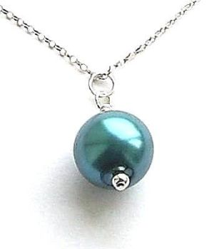 Aquamarine Pearl Sterling Silver Necklace