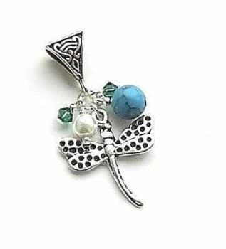 Beautiful Dragonfly And Turquoise Silver Gem Pendant Necklace